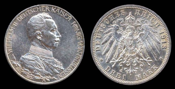 GERMANY, PRUSSIA, silver 3 mark, 1913A