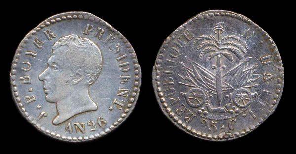 HAITI, silver 25 centimes, AN 26 (1829 AD)