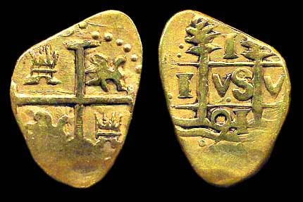 GOLD imitation of a Spanish colonial cob coin