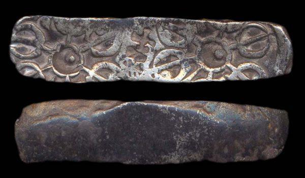 TAXILA-GANDHARA, ACHAEMENID, c. 450-350 BC, silver bent bar satamana