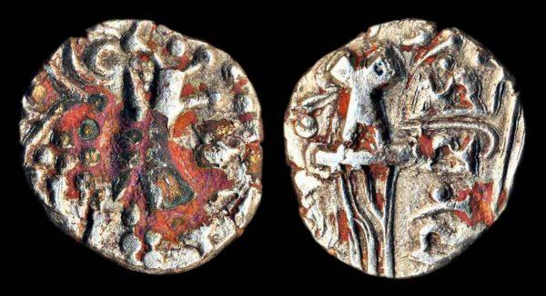 KIDARITE, Vinayaditya, late 5th c. AD, base gold plated stater