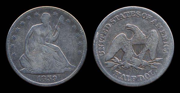 USA, silver 50 cents, 1859 O
