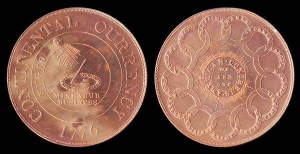 USA, Continental dollar 1776, Bashlow restrike in bronze