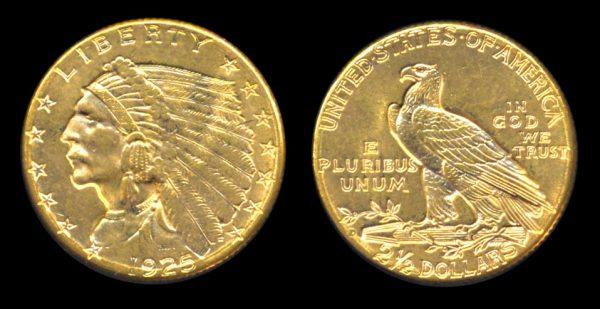 USA gold quarter eagle 1825 D