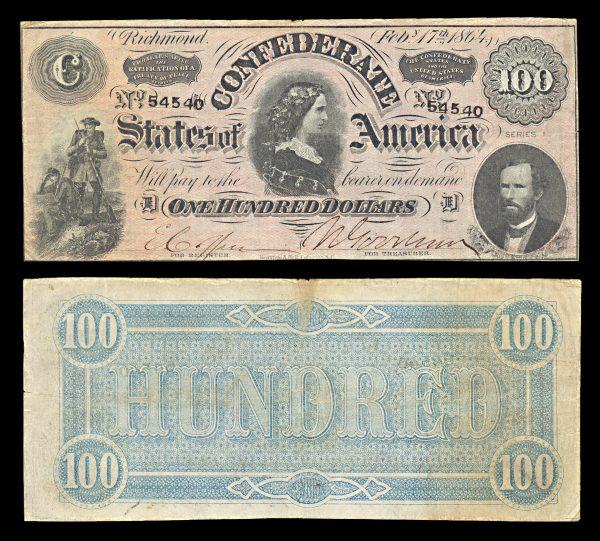 CONFEDERATE 100 dollars 1864