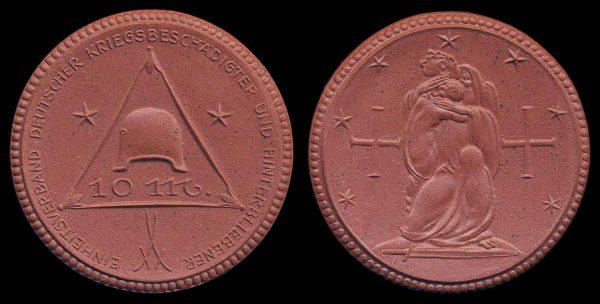 GERMANY, brown porcelain medal 1921