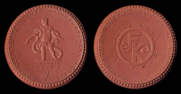 GERMANY, LEIPZIG, brown porcelain medal 1922