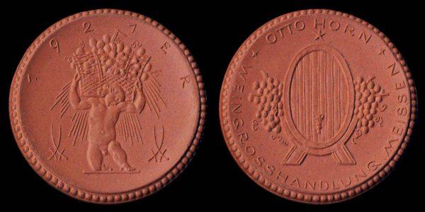 GERMANY, MEISSEN, brown porcelain medal 1921