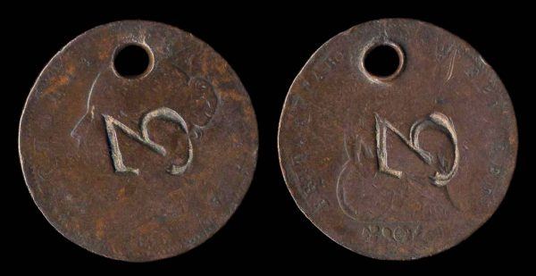 GREAT BRITAIN countermarked coin, 1853