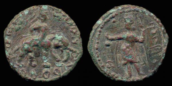 KUSHAN, Huvishka, 158-195 AD, unit with elephant rider and rain god Pharro
