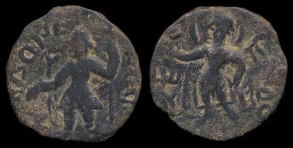 KUSHAN, Kanishka I, c. 130-150 AD, 1/4 unit with Moon goddess Mao