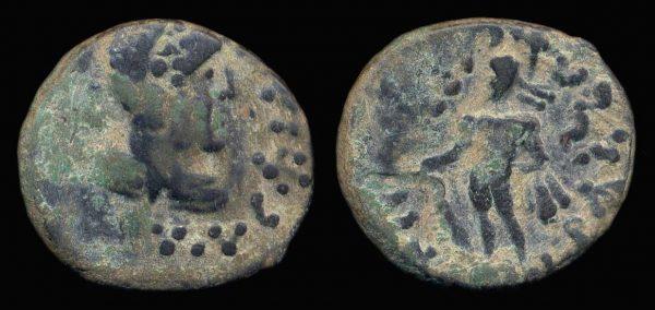 KUSHAN, Western Barbarians, c. 40-60 AD, bronze, tetradrachm, Kapisa series