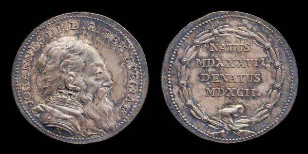 SWEDEN King Johann III silver death medal 1592
