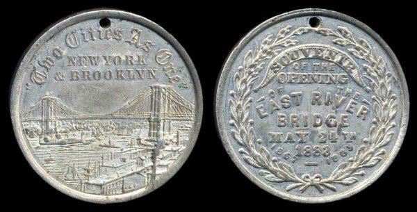 USA, NEW YORK Brooklyn Bridge medal 1883