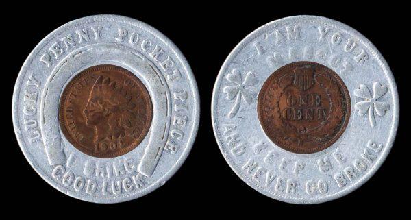 USA, encased lucky penny, 1901