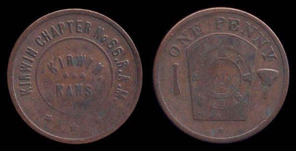 USA, KANSAS, Masonic penny 1920s