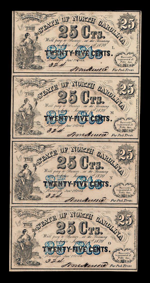 NORTH CAROLINA, 25 cents, uncut sheet