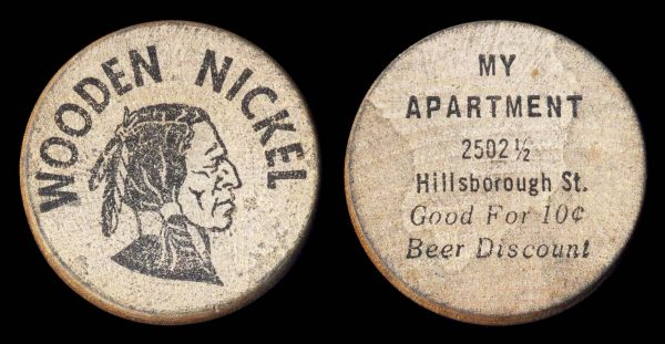 USA, NORTH CAROLINA, wooden nickel for My Apartment Lounge