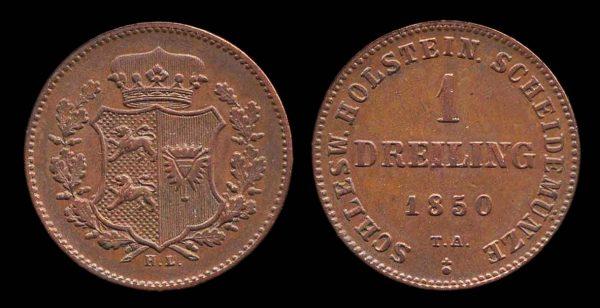 GERMANY, SCHLESWIG-HOLSTEIN, 1 dreiling 1850