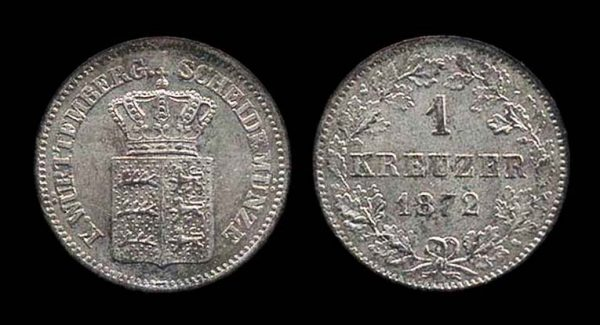 GERMANY, WÜRTTEMBERG, 1 kreuzer 1872