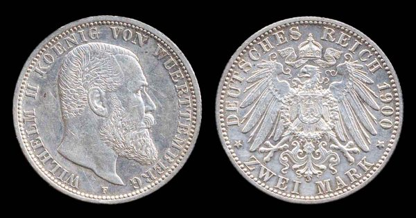 GERMANY, WÜRTTEMBERG, 2 mark 1900