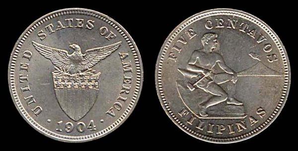 PHILIPPINES, 5 centavos 1904