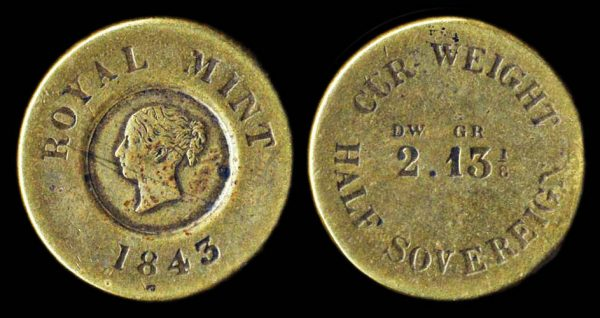 GREAT BRITAIN, coin weight, 1843, Royal mint