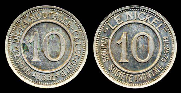 NEW CALEDONIA, 10 centimes jeton 1881