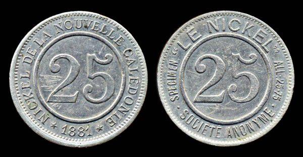 NEW CALEDONIA, 25 centimes jeton 1881