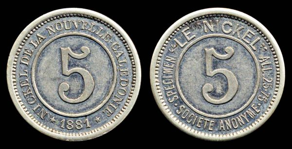 NEW CALEDONIA, 5 centimes jeton 1881