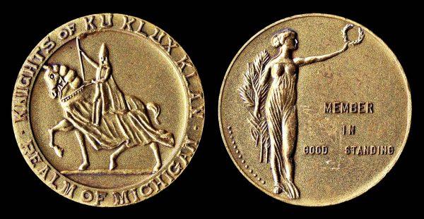 MICHIGAN, KKK medal 1928