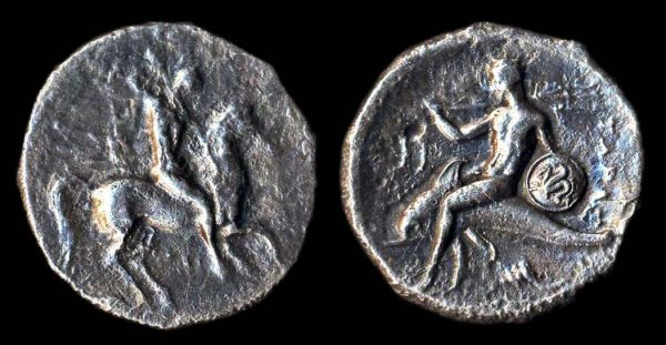 CALABRIA, TARAS, silver nomos, 344-330 BC