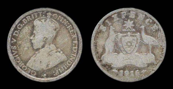 AUSTRALIA, 6 pence, 1916 M