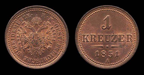 AUSTRIA, 1 kreuzer, 1851 A