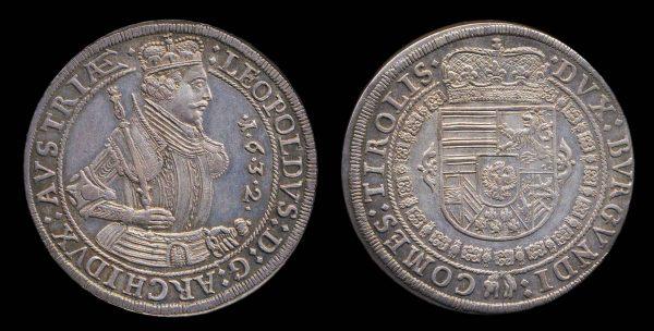 AUSTRIA, HOLY ROMAN EMPIRE, Archduke Leopold, 1 thaler, 1632, Hall mint