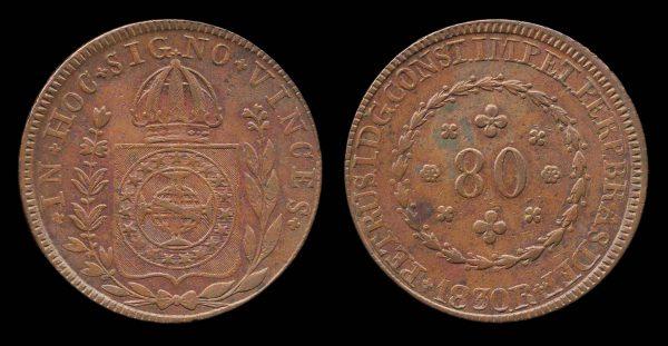 BRAZIL, 80 reis, 1830 R, Rio de Janeiro mint