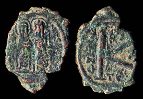 BYZANTINE, Justin II, 565-578 AD, bronze half follis, year 10 (574 AD), Thessalonika mint