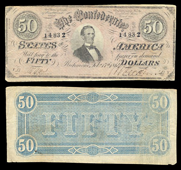 CONFEDERATE STATES OF AMERICA 50 dollars 17.2.1864 P70 T57