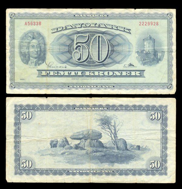 DENMARK 50 kroner (19)63 P45i