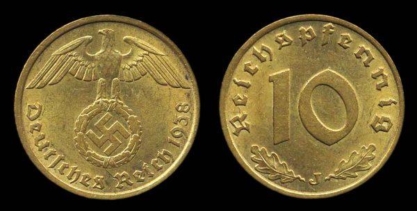 GERMANY, 10 pfennig, 1938 J