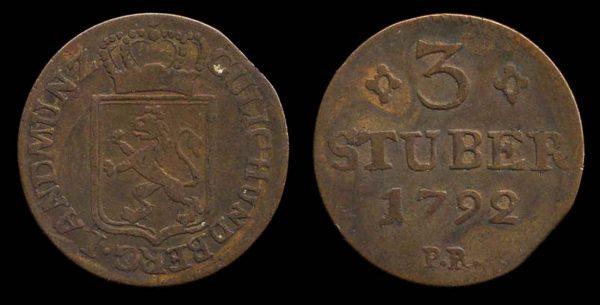 GERMANY, JÜLICH-BERG, 3 stuber, 1792