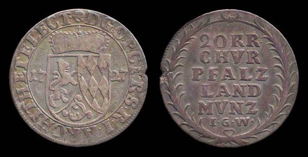 GERMANY, PFALZ-NEUBERG, 20 kreuzer, 1727 IG W