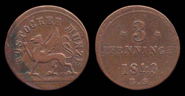 GERMANY, ROSTOCK, 3 pfennig, 1843 BS