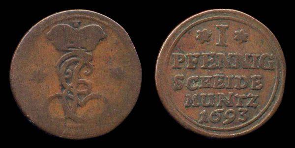 GERMANY, SAXE-SAALFELD, 1 pfennig, 1693