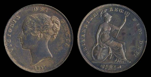 GREAT BRITAIN, 1 penny, 1855