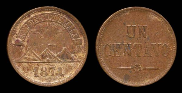 GUATEMALA, 1 centavo, 1871