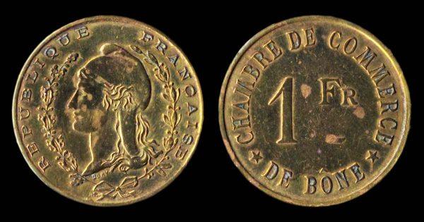 ALGERIA, BONE, brass, 1 franc, no date (1915)