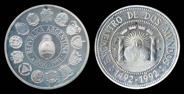 ARGENTINA, silver, 1000 australes, 1991, Encuentro de dos Mundos