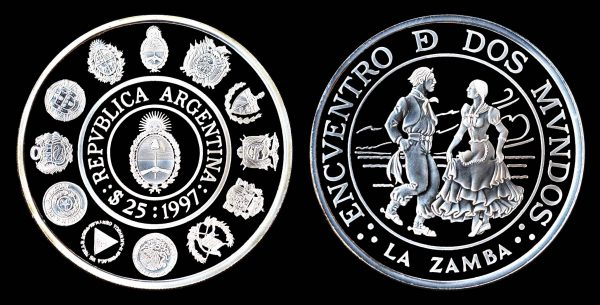 ARGENTINA, silver, 25 pesos, 1997, dancers