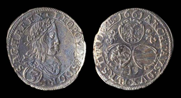 HOLY ROMAN EMPIRE, 3 kreuzer, 1661 L, Graz mint